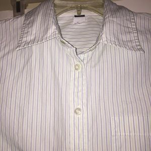 J Crew Woman's S slim fit Navy and Lime stripe top